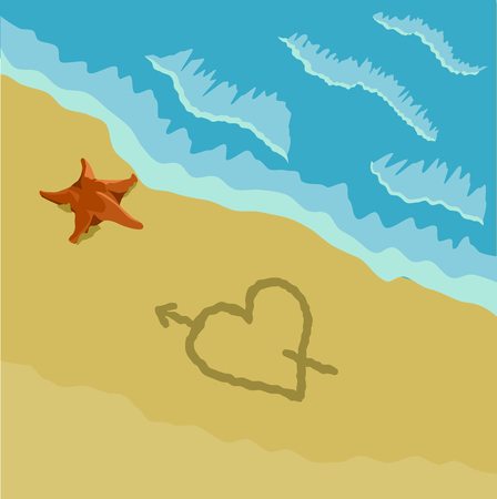 Beach with a heart in the sand and a sea starfish