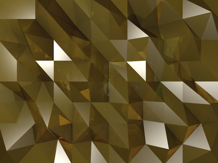 Dark Golden crystals background with reflections and shinning triangles
