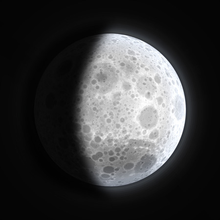 Gibbous moon phase with black background Imagens