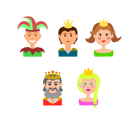 Diverse Castle characters on white background.