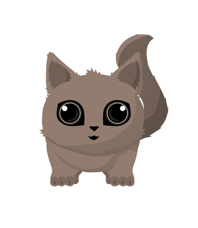 Cute Cat detailed with big eyes with shadows Ilustração
