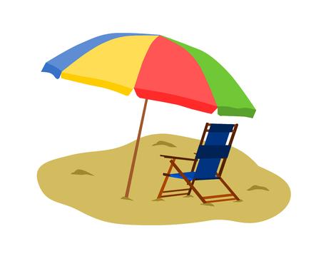 Chair in the beach with colorful umbrella. Ilustração