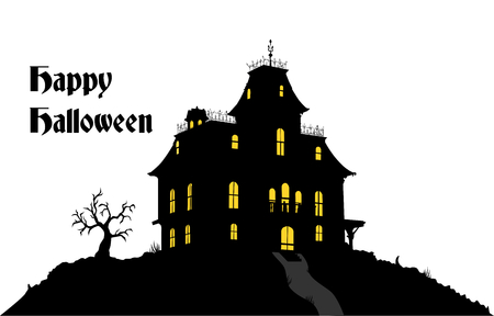 Haunted House Dark Sillouete with dry Tree in a hill