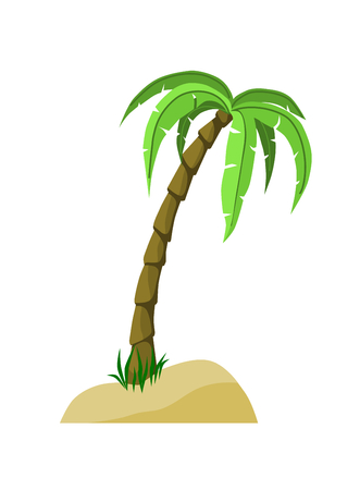 Detailed Palm Tree on sand and grass.