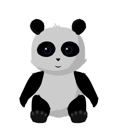 Cute Panda Illustration Sitted with shiny eyes.  イラスト・ベクター素材
