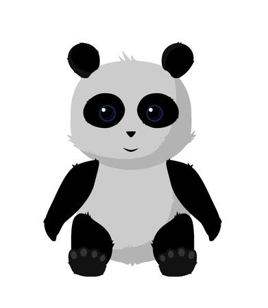 Cute Panda Illustration Sitted with shiny eyes. Ilustração