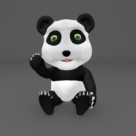 Cute panda sitted saying hello with hand greeting Imagens