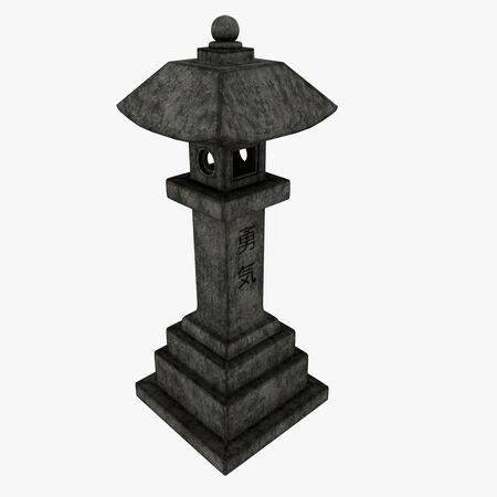 3D Illustration of a Japanese Lantern Temple