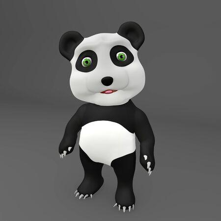 Cute Panda baby 3D Illustration in Resting Pose