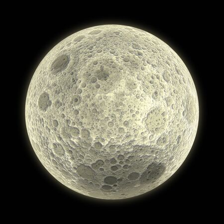 3D Illustration Full Moon with bright and surface details