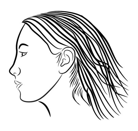 Japanese Girl in profile view with stylized traces