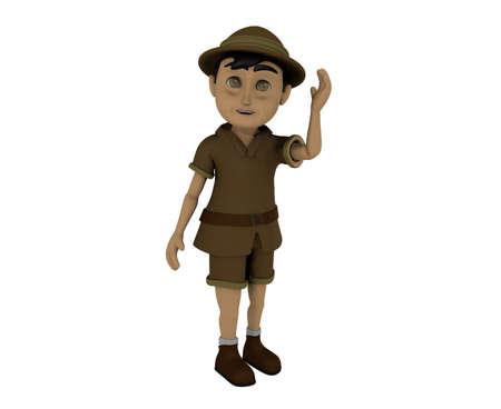 Little Child Adventurer 3D Rendering poses Imagens