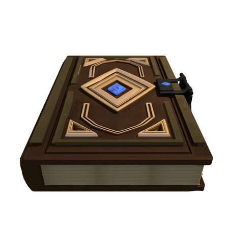 Magic Book with golden details 3D Illustration Rendering Imagens