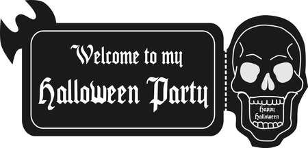 TIcket for Halloween Day Part with a Skull invitation