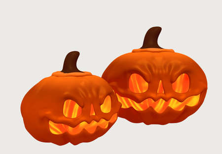 3D Illustration of Two Pumpkims Scary for Hallowen Day