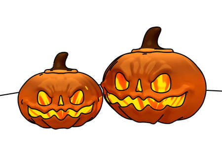 Two Scary Pumpkins with Line Drawing 3D Illustration Imagens