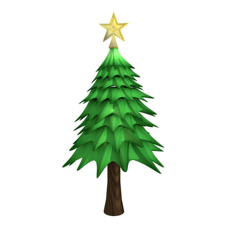 Christmas Tree with star on top and snow Imagens