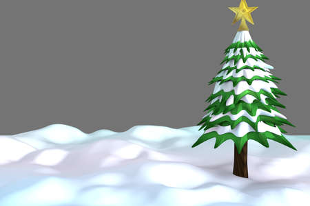Christimas Tree in snow and with a golden Star