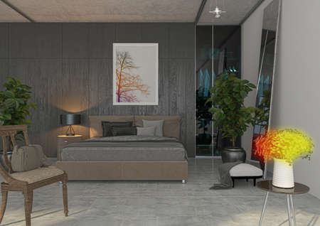 penthouse: Apartment, 3D rendering project, Interior, Bedroom, Luxury Stock Photo