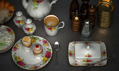 twist: Thousands of eyes look at you from the abyss, 3d illustration, china set with a twist