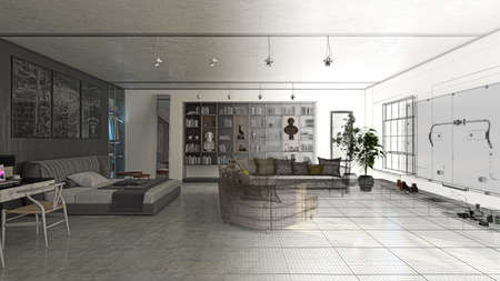 penthouse: Apartment, 3D rendering project, Interior, Bedroom, Luxury, 3d illustration Stock Photo