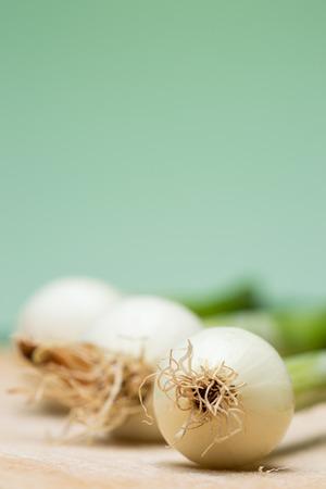 Fresh young onion on cutting board photo