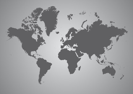 World Map of continents in gray Vector
