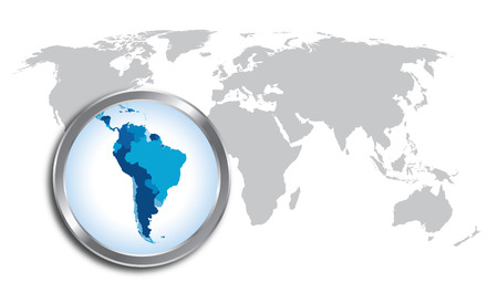 World map with South America magnified by loupe