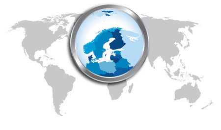 World map with Scandinavia magnified by loupe Vectores