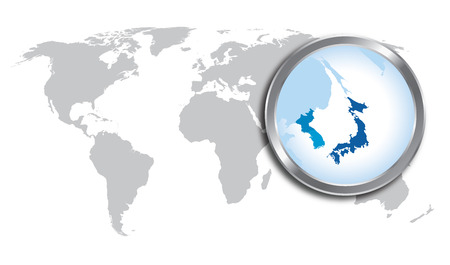 World map with Japan, Korea magnified by loupe