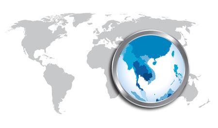 World map countries with Indo China magnified by loupe