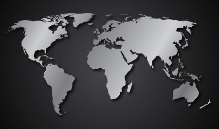 the continents: World map continents gray gradient Illustration