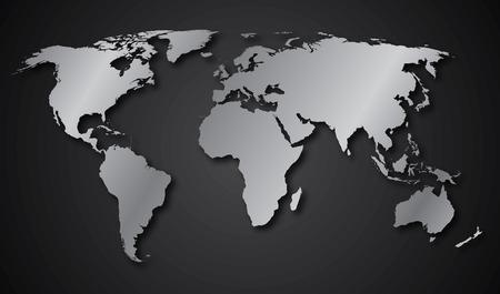 World map continents gray gradient Ilustração