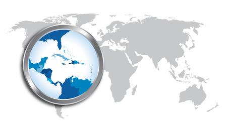 카리브해 지역과 세계지도 확대경으로 확대