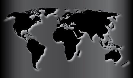 Black World Map Vector Illustration