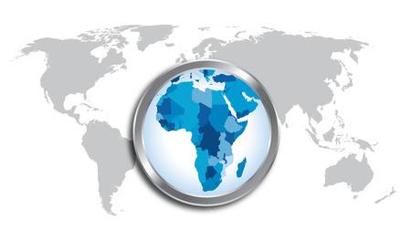 ルーペで拡大するアフリカと世界地図国  イラスト・ベクター素材