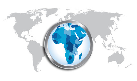 loupe: World map countries with Africa magnified by loupe Illustration