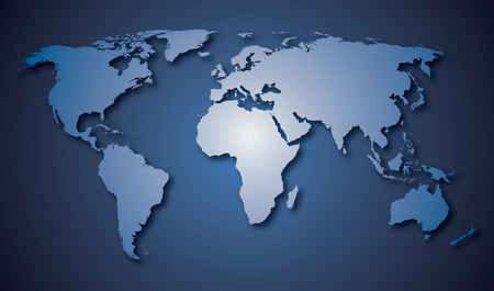 World map countries white with blue gradient background