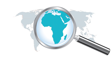 World map countries with Africa magnified by loupe Illustration