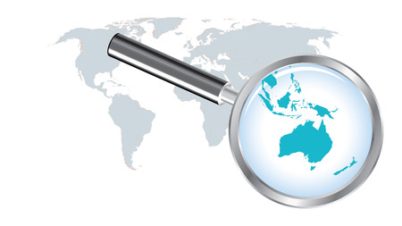 World map with Australia magnified by loupe