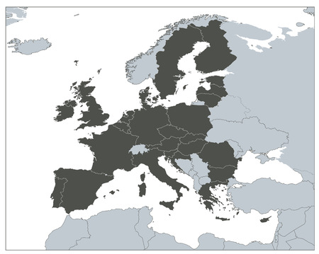 Europe Map EU Coutries - Gray EPS8