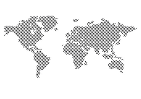 World Map Dots Matrix Two Tone Pattern Gray Royalty Free Cliparts - Us map eps