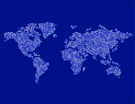 geographical locations: World map continents dots Illustration