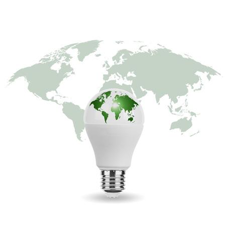 World Map on LED Light Bulb Standard-Bild