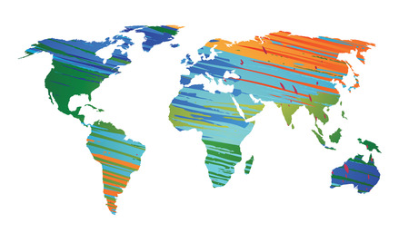 World map strokes color EPS 10 Vector Ilustrace