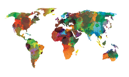 World map water color EPS 10 Vector Illustration
