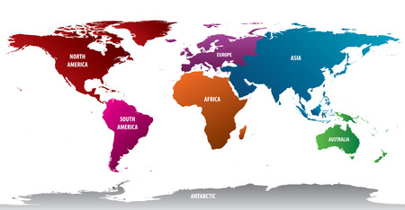 World Continents With Bold Color Illustration