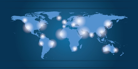 World Map business locations, blue and white Illustration