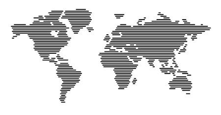 Weltkarte horizontalen Linien Vektorgrafik