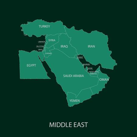 oriente: Medio este mapa  Vectores